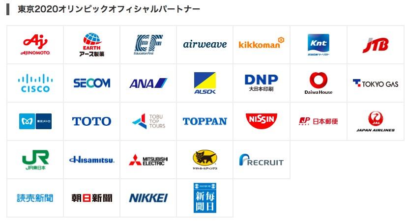画像:東京五輪のオフィシャル・パートナー