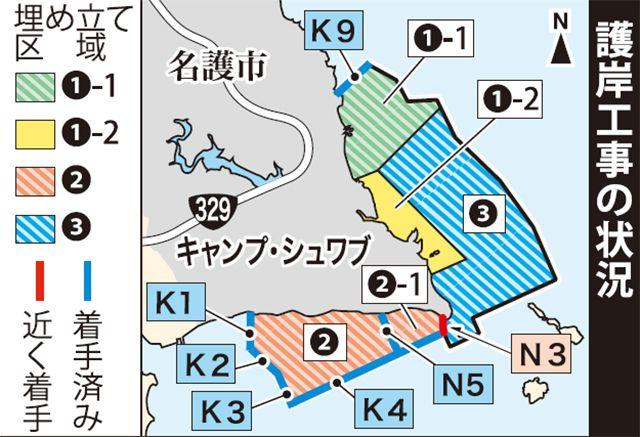 画像:沖縄タイムスが報じた護岸工事の状況
