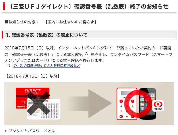 画像:三菱UFJ銀行が使用中の2段階認証