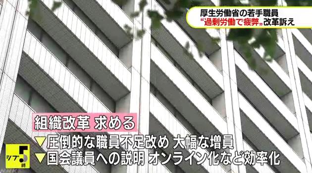 画像:厚労省若手チームからの緊急提言を報じるNHKニュース