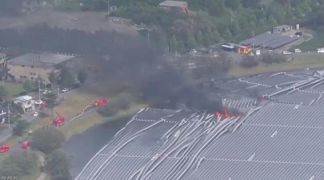 画像:火災が発生した山倉ダムの水上メガソーラー