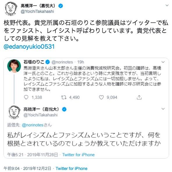 画像:高橋洋一氏のツイート