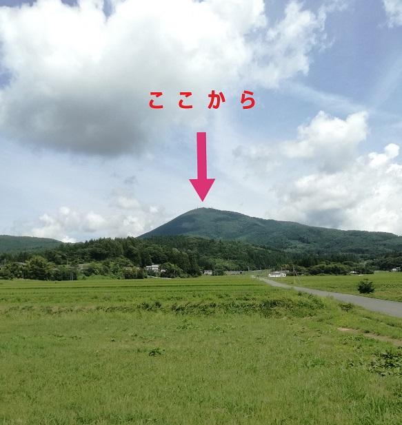 パラグライダー着地点から見る室根山
