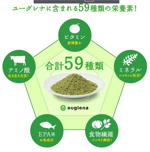ユーグレナに含まれる59種類の栄養素