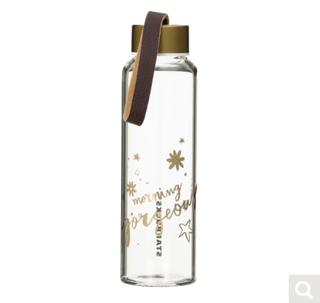 ホリデー2017レザーストラップグラスウォーターボトル296ml