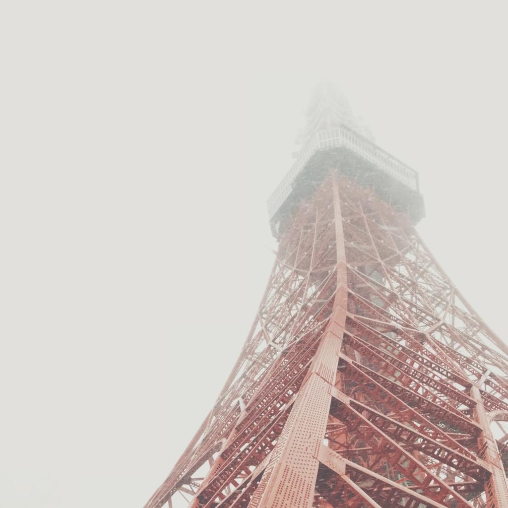 雪の中の東京タワー
