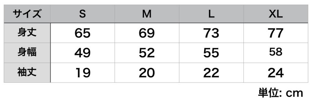 サイズ表の一例