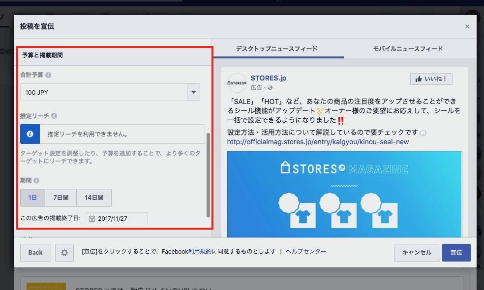Facebookの広告の出し方:オプション設定