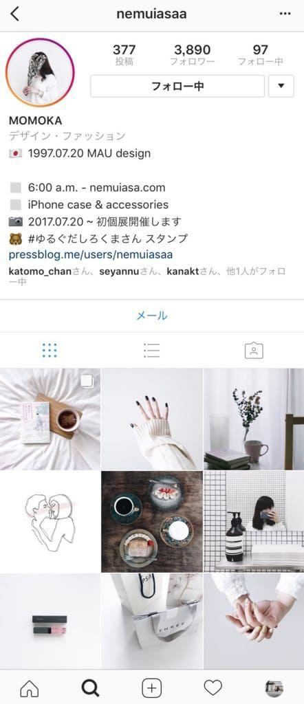momokaさんのInstagramページ