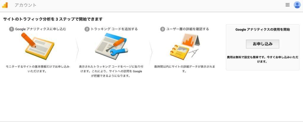 Googleアナリティクスの登録画面