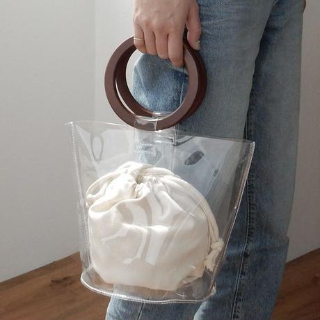 PVC素材 ウッドハンドル クリアバッグ バケツバッグ 巾着袋付き