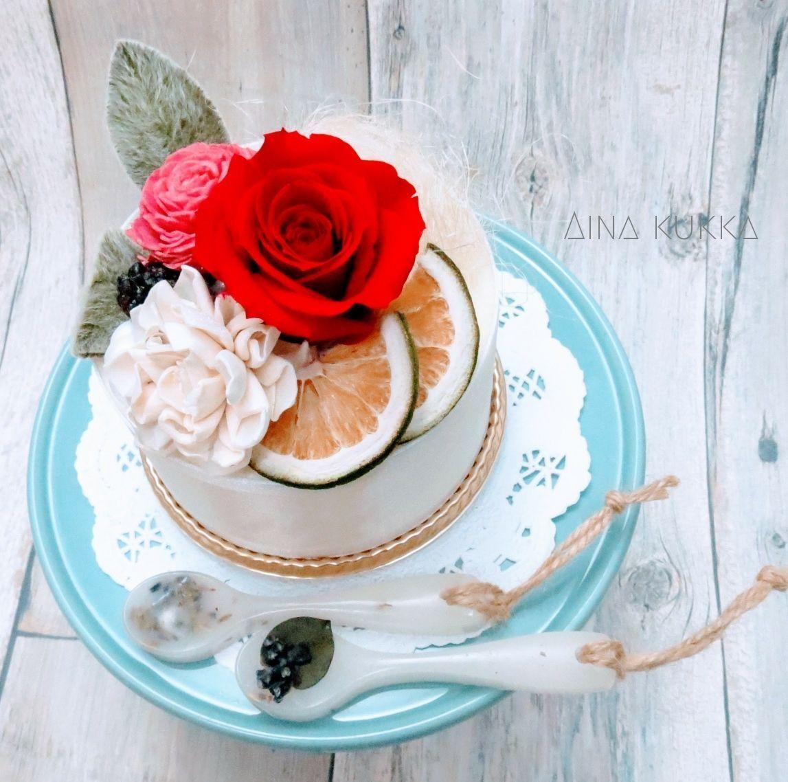 母の日[Flower Aroma SET]フラワーケーキ×アロマバー/クリアBox付き