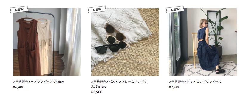 STORES.jpのシール機能の例:韓国ファッションのNOKCHA