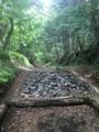 吉田ルート1合から5合目までは林道.「浸透枡」という木枠は雨水が地