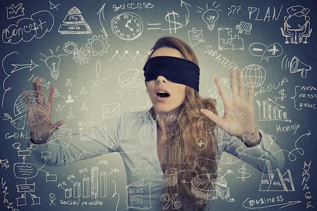 Blind businesswoman making plans