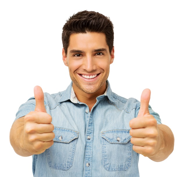 Confident Young Man Gesturing Thumbs Up