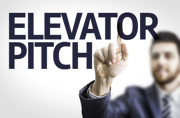 Business man pointing the text: Elevator Pitch
