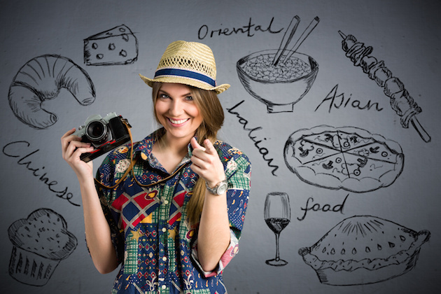 food photographer - Nice female tourist with draw different types of food
