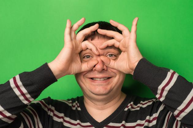 man hand glasses