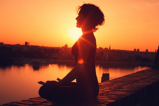 Yoga meditation during the sunset