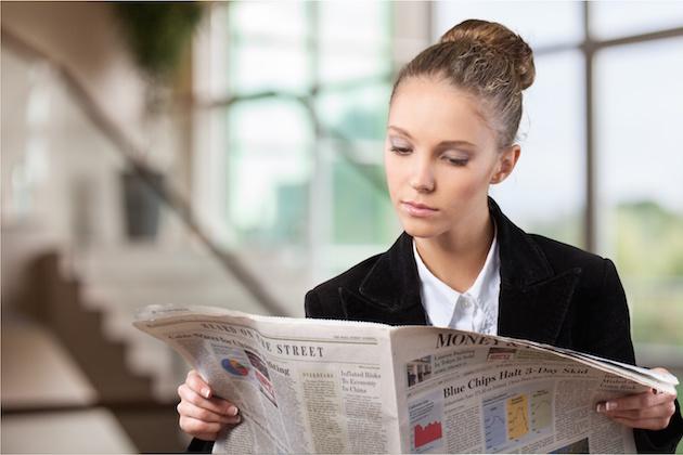 Newspaper, Reading, Women.