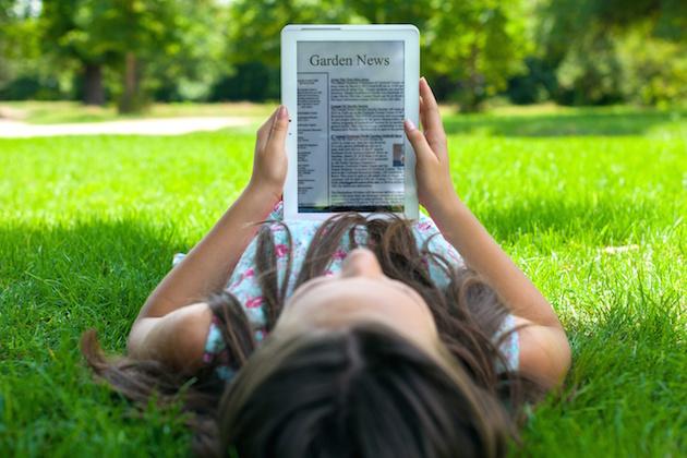 Digital Tablet, Reading, Newspaper.