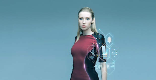 beautiful futuristic woman with virtual projection