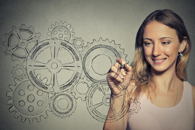 Woman with gear mechanism