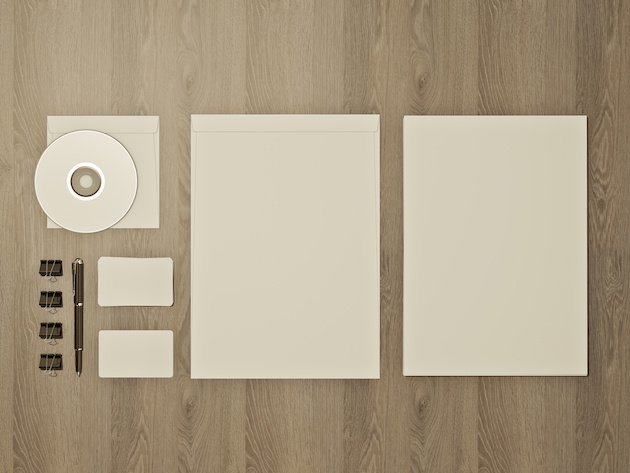 Set of mockups on wood background