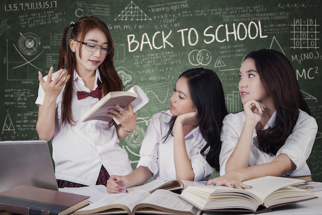 Girls back to school and studying togehter
