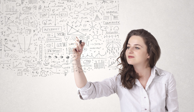 Young woman sketching and calculating thoughts
