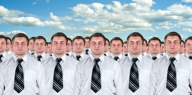 Many identical businessmen clones. Businessman production concept