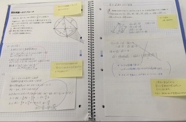 数学の「問題集用ノート」の作例