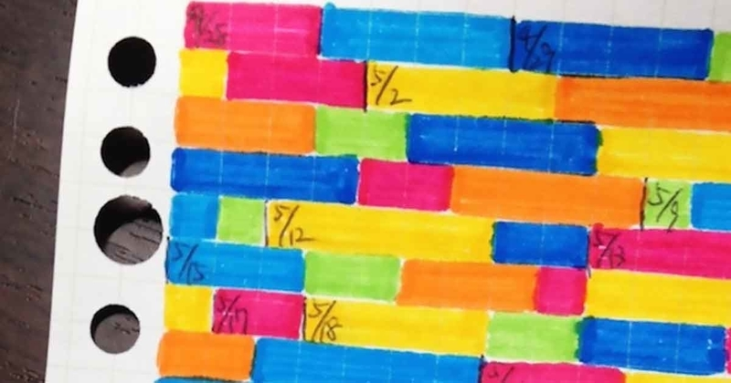 塗り絵勉強法のサンプル。方眼のルーズリーフが、青・ピンク・緑などカラフルなマーカーで塗られている。