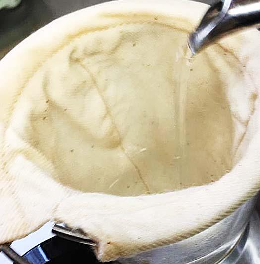 ネルフィルターの湯煎