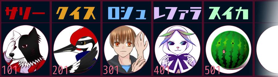 登場キャラクター、サリー、クイス、ロシュ、レファラ、スイカ