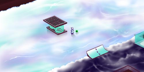 凍った川の上