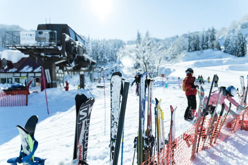 スキー場のリフトのそばの雪にたくさんスキー板やスノーボードがたててある