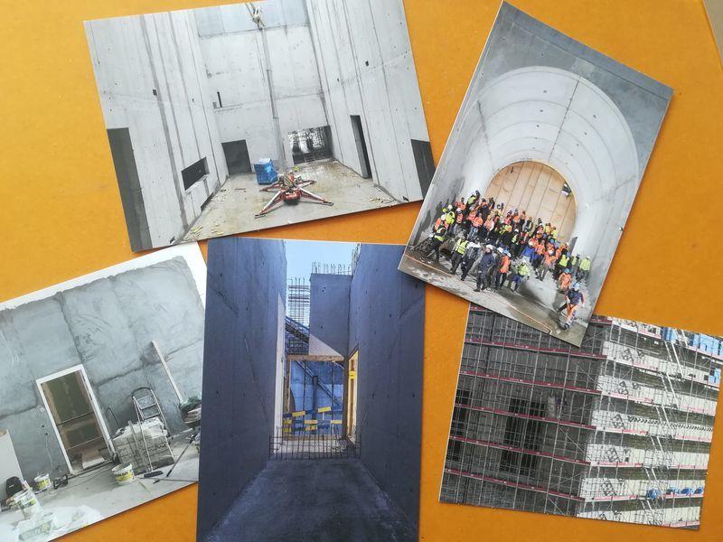 美術館の工事現場の絵葉書が5枚