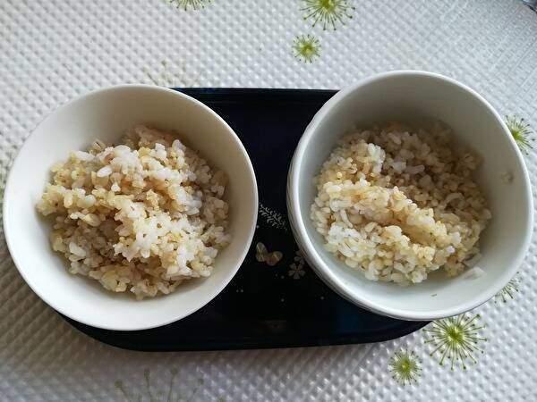 トレイの上にふたつの白い茶碗が並んでいる。どちらにも雑穀がついである。