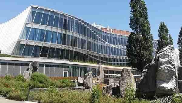 曲線が美しいモダンなデザインのビル。オリンピック委員会本部。
