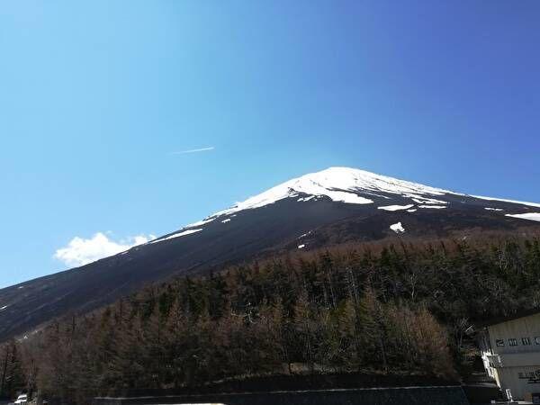 五合目からの富士山の山頂。雪をかぶっていて木のない山肌は青く見える。
