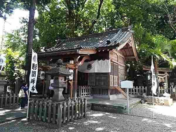 古く小さな木造の神社。木に囲まれている。