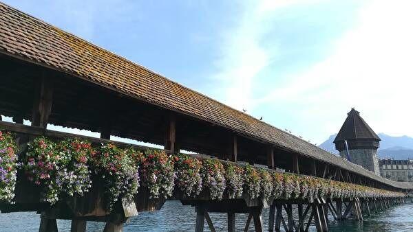 カペル橋。屋根つきの木造の橋が花でいっぱいに飾られている。