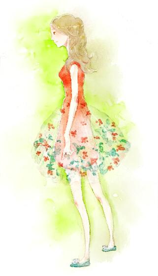 透ける花柄ドレスの女の子