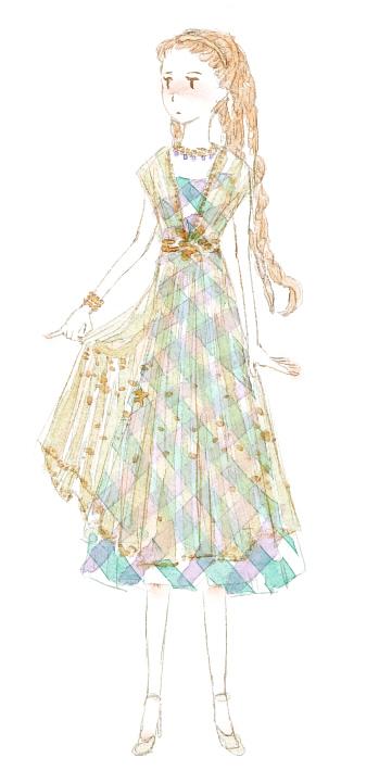 チェック柄ドレスの女の子