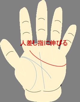 人差し指に伸びる感情線