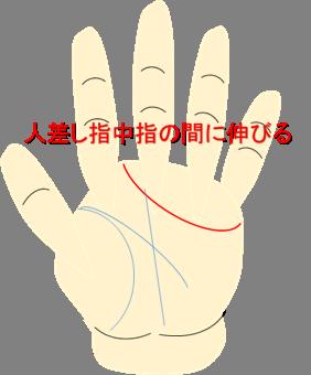 人差し指中指間に伸びる感情線