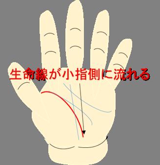 生命線小指側に流れる
