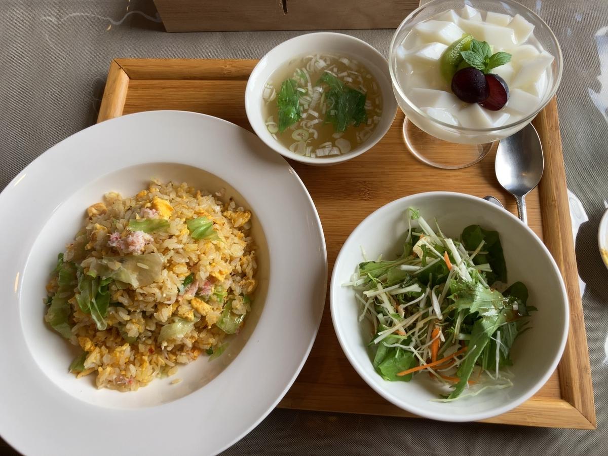 中華料理朱夏のランチ「カニとレタスのチャーハンセット」